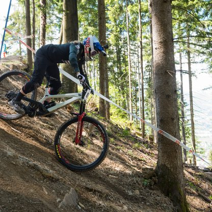 Biker on the downhill trail in the forest  | © Marc Schwarz Photography