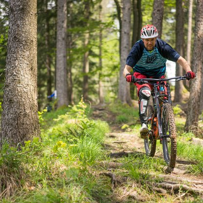 A biker on the single trail in the forest on Wurbauerkogel.  | © Michael Steiner