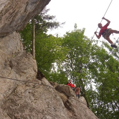Climbers at the Bannholzmauer Mountain Climbing Park | © Alpenverein