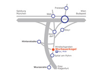 Map showing you the directions to Wurbauerkogel, if you're arriving by car.