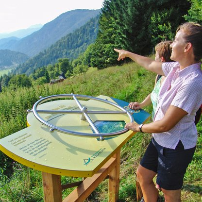 "On a tour of exploration: by the ""wheel of time"" on ""Natur-Spuren"" (nature's traces) adventure trail on Wurbauerkogel.  